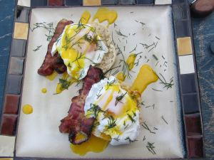 The traditional eggs benedict. Here we have english muffin, locally cured bacon (unreal), poached eggs (I add vinegar to the water because someone said I should (btw...remind me to tell you about oeufs noir)) and a rich hollandaise that is comprised of egg yolk, lemon juice, a bit of salt, and lots and lots of melted butter ;)