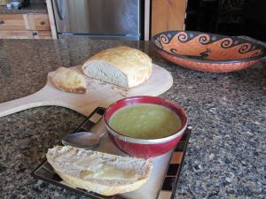 Though the harvest of peas doesn't happen till JULY, I always have a bowl or two left over from the previous year ready to be thawed out and enjoyed with a fresh loaf of baked bread. You want to feel good after a cold day's work outside in March, come into the kitchen and eat some hot spring pea soup and fresh baked bread with butter!